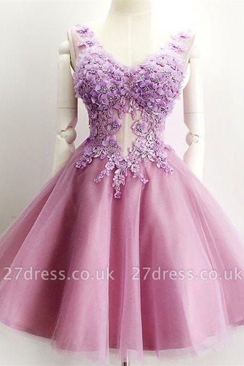 Beautiful V-Neck Sleeveless Short Prom Dress UK Appliques Tulle Homecoming Dress UK