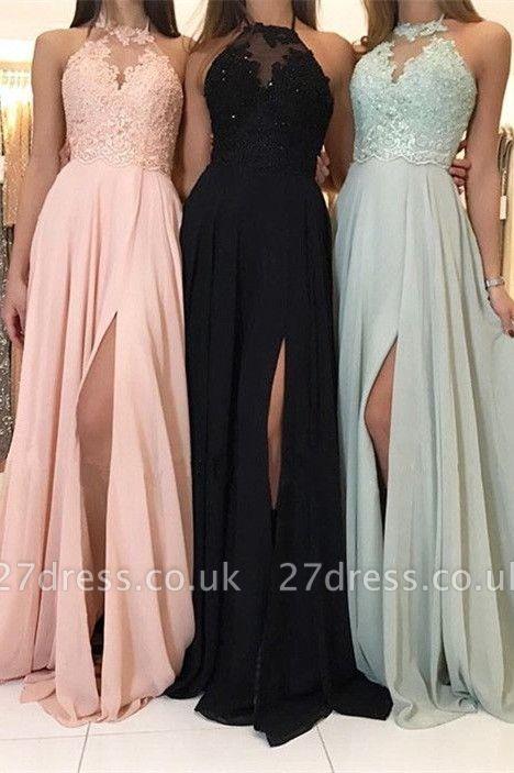 Sexy Halter Lace Evening Dress UK | 2019 Long Chiffon Prom Dress UK With Slit