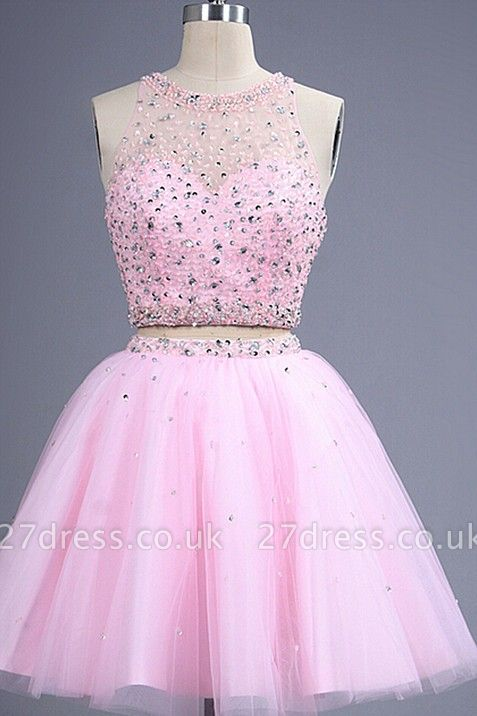 Hot Sale Pink two Pieces Short Prom Dress UK Beadings Tulle Homecoming Dress UK