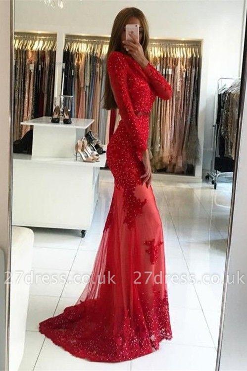 Elegant Red Long Sleeve Evening Dress UK | 2019 Appliques Long Prom Dress UK
