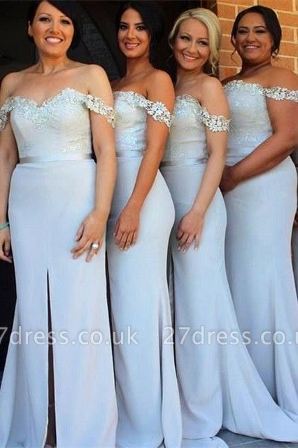 Sexy Off-the-Shoulder Mermaid Bridesmaid Dress UK Front Split Lace