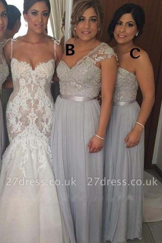 Gorgeous Chiffon Floor-length Sequined Bridesmaid Dress UK With Beadings