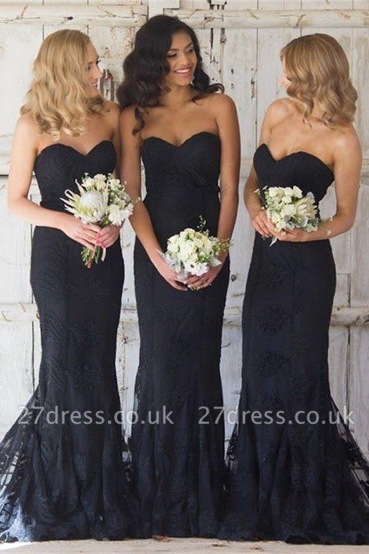 Sexy Black Sweetheart Mermaid Bridesmaid Dress UK Lace Wedding Reception Dress UK