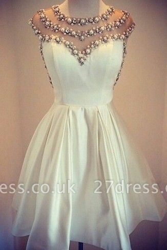 Lovely White Pearls Short Prom Dress UK Cap Sleeve Vintage Homecoming Dress UK