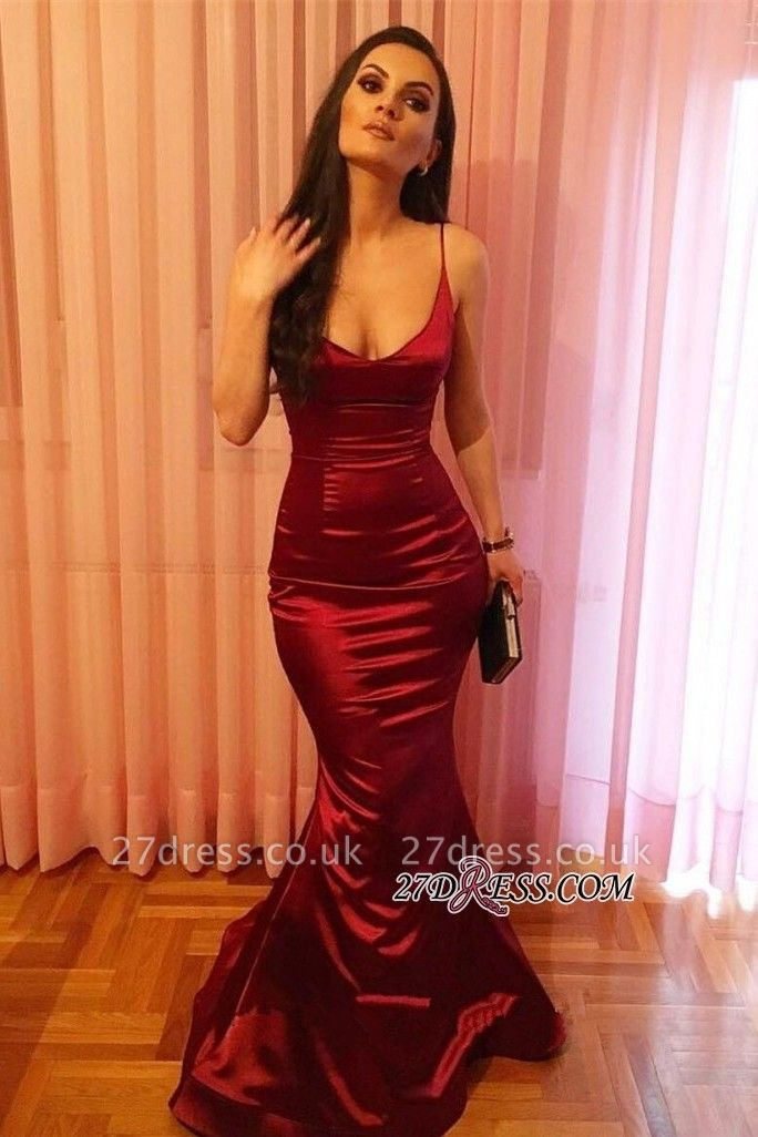 Elegant Spaghetti-Strap Prom Dress UK | Red Sleeveless Evening Party Dress UK