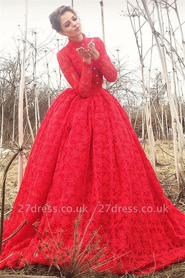 Gorgeous High Neck Lace Prom Dresses Cheap | Online Appliques Red Long Evening Dress UK