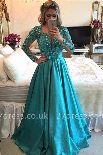 Luxury Long Sleeve Evening Dress UK | 2019 Beadings Prom Dress UK