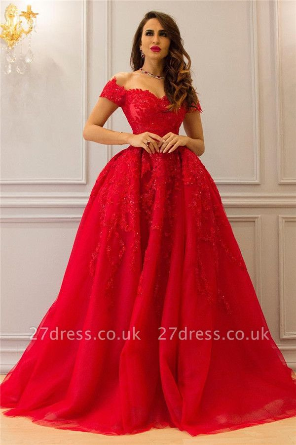 Tulle Lace Off The Shoulder Sexy Prom Dress UK| Cheap Sweetheart Red Evening Dress