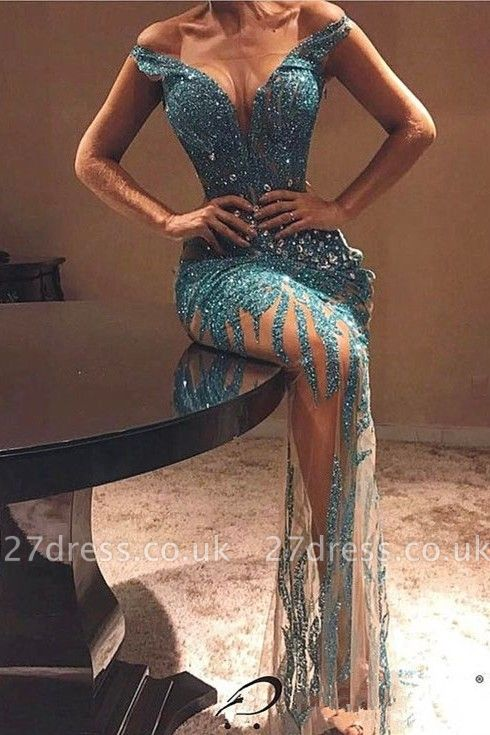 Elegant Off-the-shoulder Bodycon Beads Prom Dress UK | Lace Prom Dress UK