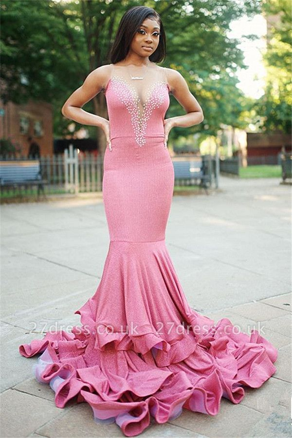 Sexy Mermaid Cheap Evening Gowns Online | Sleeveless Beading Long Prom Dress UK