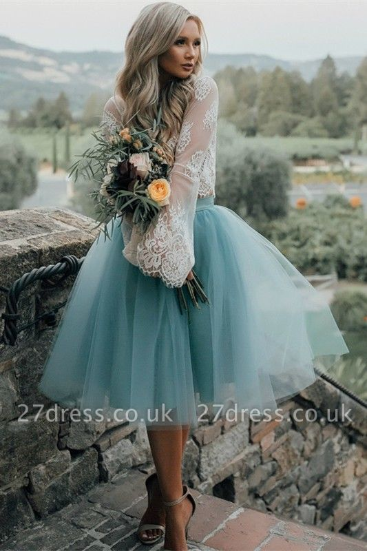 Long Sleeve Lace Short Prom Dress UK Tulle Party Gowns