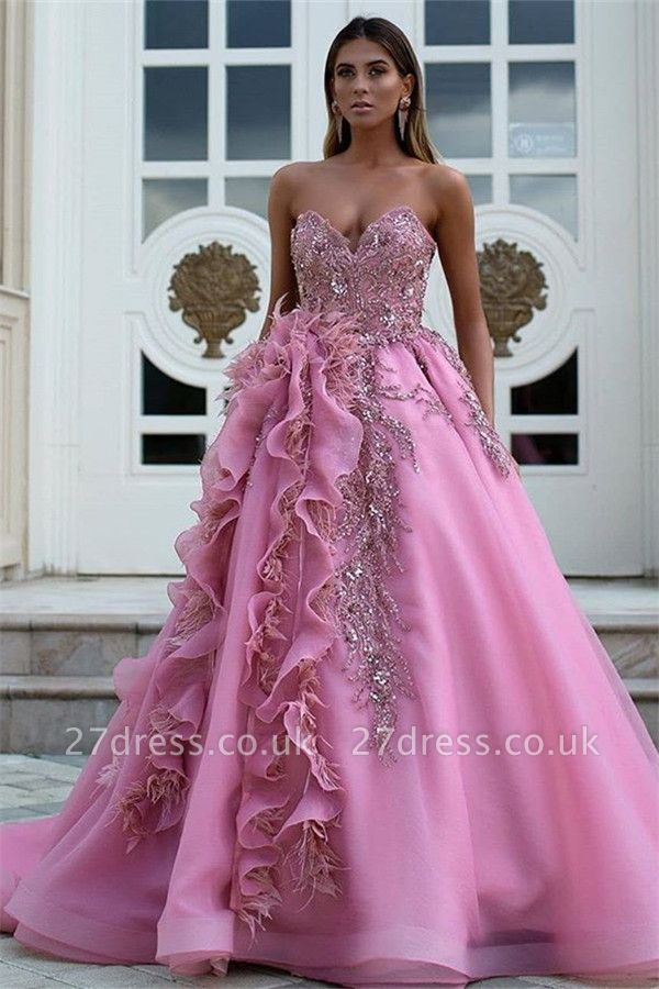 Gorgeous Strapless Formal Dresses Uk | Sweetheart Ruffles Appliques Long Evening Dress