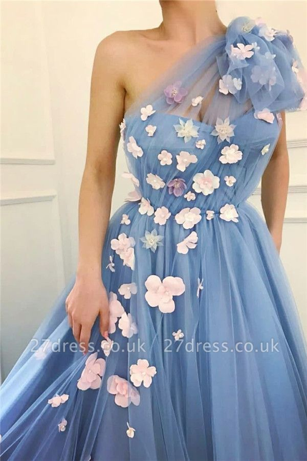 Chic Tulle One Shoulder Prom Dresses Sexy | Flowers Cheap Long Evening Dress UK