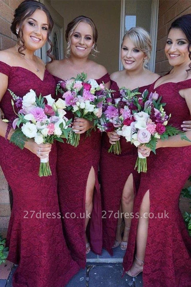 Luxury Off-the-Shoulder Bridesmaid Dress UK | 2019 Mermaid Lace Maid of Honor Dress UK