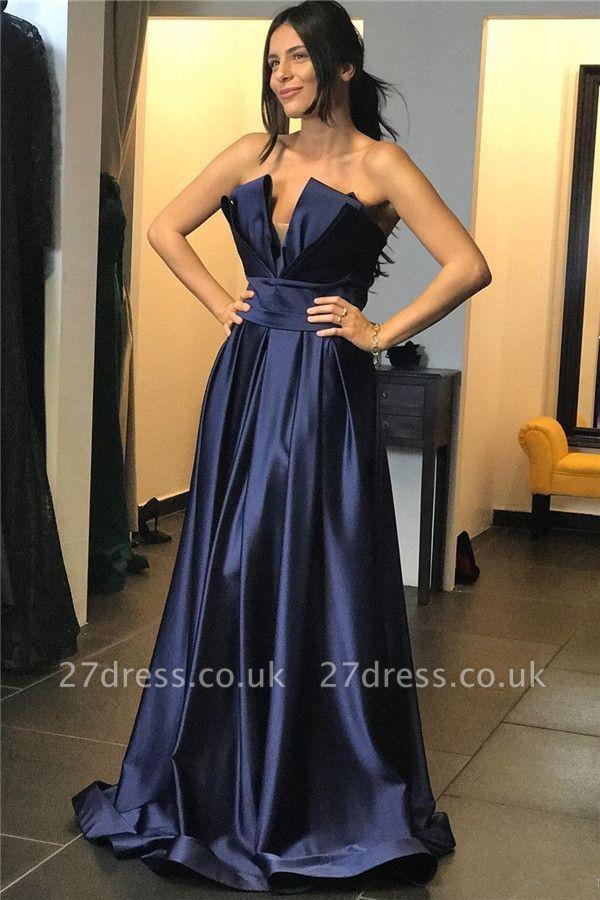 Chic Strapless Sexy Prom Dresses Online | V-Neck Ruffles Long Evening Dress UK