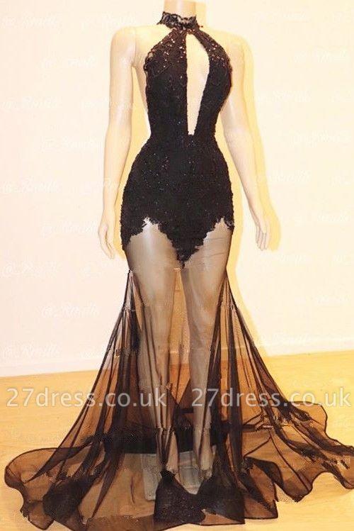 Elegant Black Prom Dress UK | Sheer Skirt Mermaid Lace Party Gowns BA9235