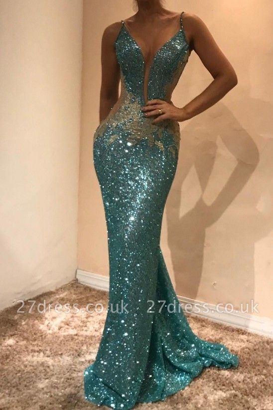 Gorgeous Sleeveless Sequins Evening Dress UK | Mermaid Prom Dress UK on Sale BA9598