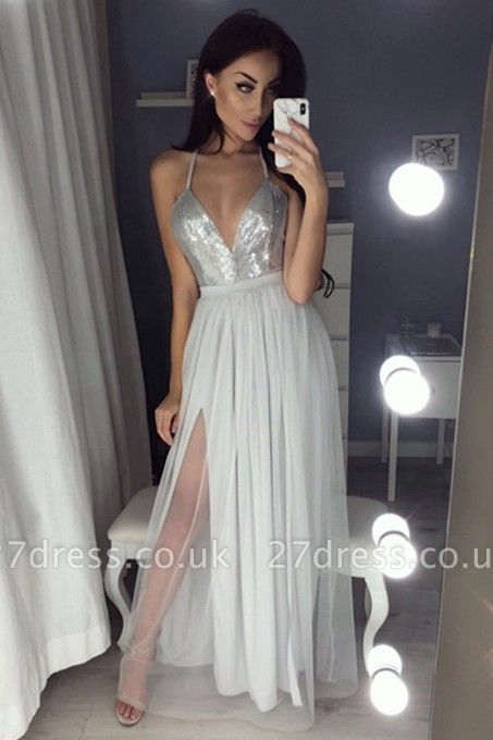 Sexy V-Neck Halter Prom Dress UK | Sequins Chiffon Evening Dress UK