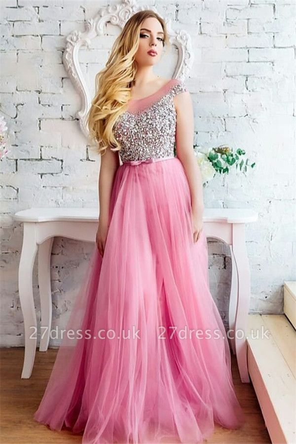 Tulle Scoop Sleeveless Prom Dresses Sexy | Beading Cheap Evening Dresses UK