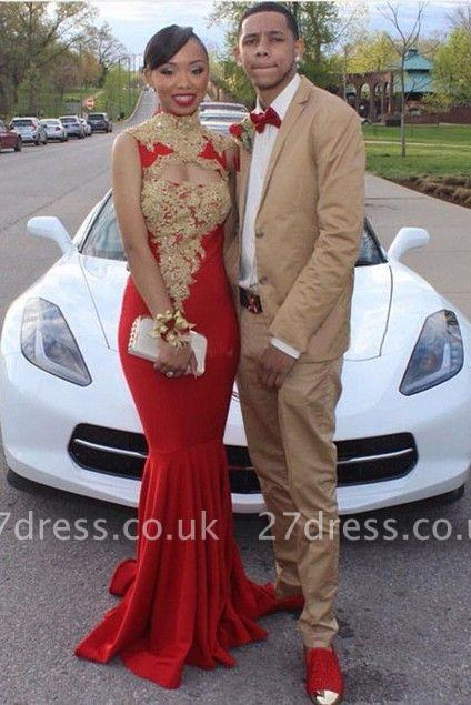 Red Mermaid Prom Dress UK | Lace Appliques Evening Dress UK BK0