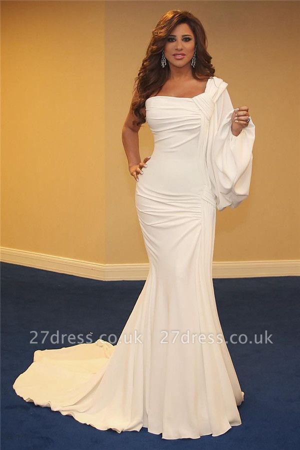 Cheap One Shoulder Ruffles Prom Dresses UK | New Arrival Mermaid Long Evening Dress