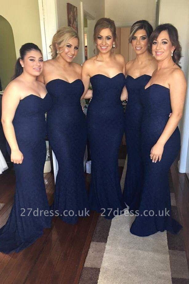 Elegant Sweetheart Sleeveless Mermaid Bridesmaid Dress UK With Lace