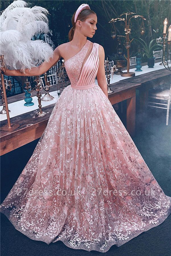 Fantancy One Shoulder Lace Prom Dresses UK | Sexy Cheap Pink Evening Dress