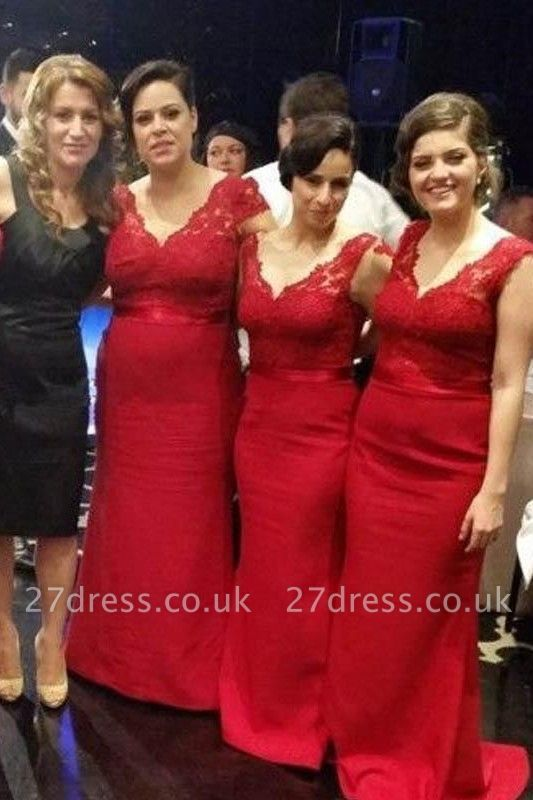 Modern V-neck Red Mermaid Bridesmaid Dress UK With Lace Appliques