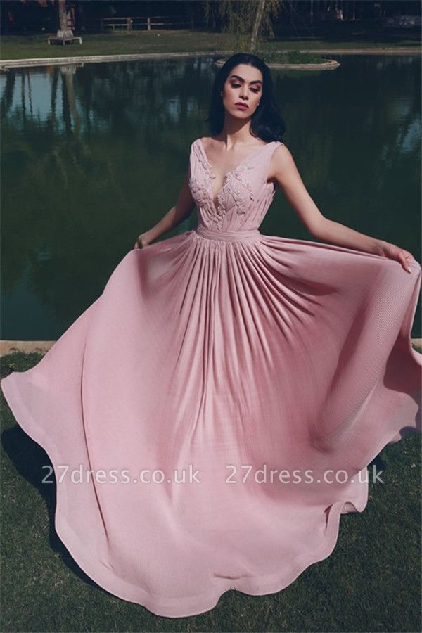 V-Neck Sleeveless Ruffles Prom Dresses UK | Appliques Pink Evening Dress Cheap Online