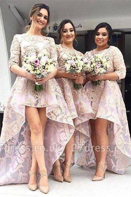 Luxury Half-Sleeve Lace Bridesmaid Dress UK Hi-Lo Dress UK