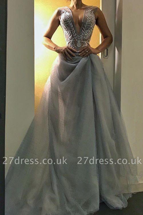 Gorgeous V-Neck Long Evening Dress UK   Sleeveless Prom Dress UK