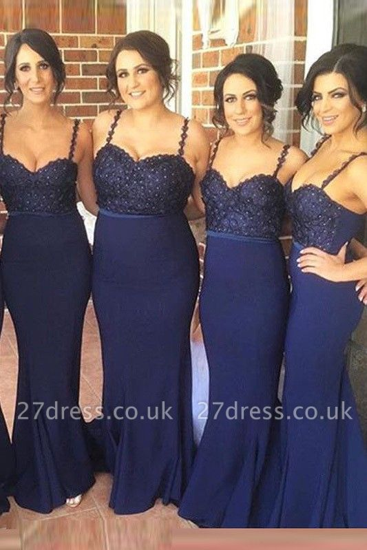 Luxury Navy Spaghetti Strap Bridesmaid Dress UK Lace Beadings Long Wedding Party Dress UK