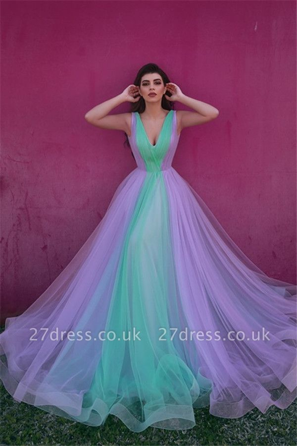Sexy V-neck Colorful Tulle Evening Gowns UK | Sleeveless Cheap Open Back Formal Dresses
