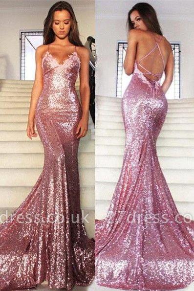 Gorgeous Sequins V-Neck Prom Dress UKes UK Mermaid Spaghetti Straps Party Gowns