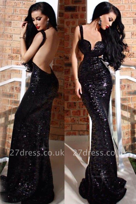 Elegant Black Backless Evening Dress UK | Mermaid Sleeveless Prom Dress UK
