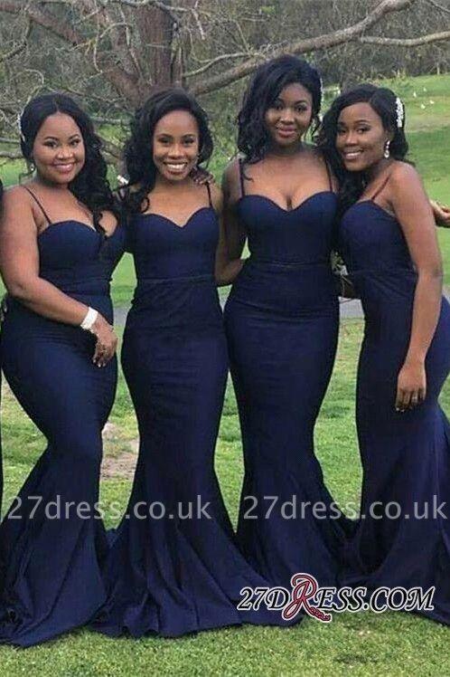 Sexy Long Sweetheart Mermaid Spaghetti-Straps Bridesmaid Dress UK