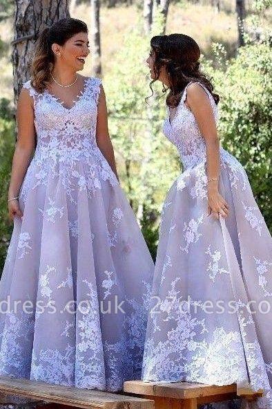 Sexy Straps Appliques V-Neck Sleeveless A-Line Bridesmaid Dress UK