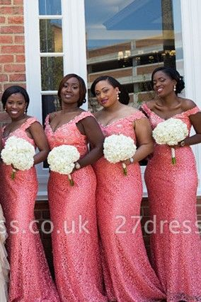 Gorgeous Off-the-shoulder Mermaid Bridesmaid Dress UK Sequins Sweep Train