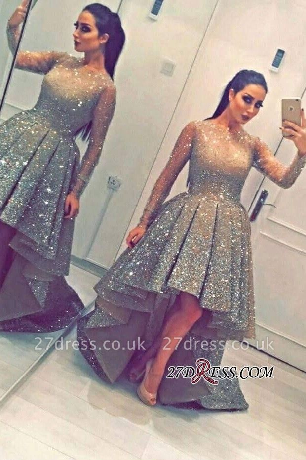 Luxurious Sequins Party Long-Sleeves Beadings Hi-Lo Homecoming Prom Dress UK BA3735