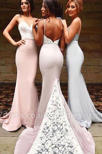 Luxury Mermaid Spaghetti Strap Bridesmaid Dress UK Lace On Sale th206