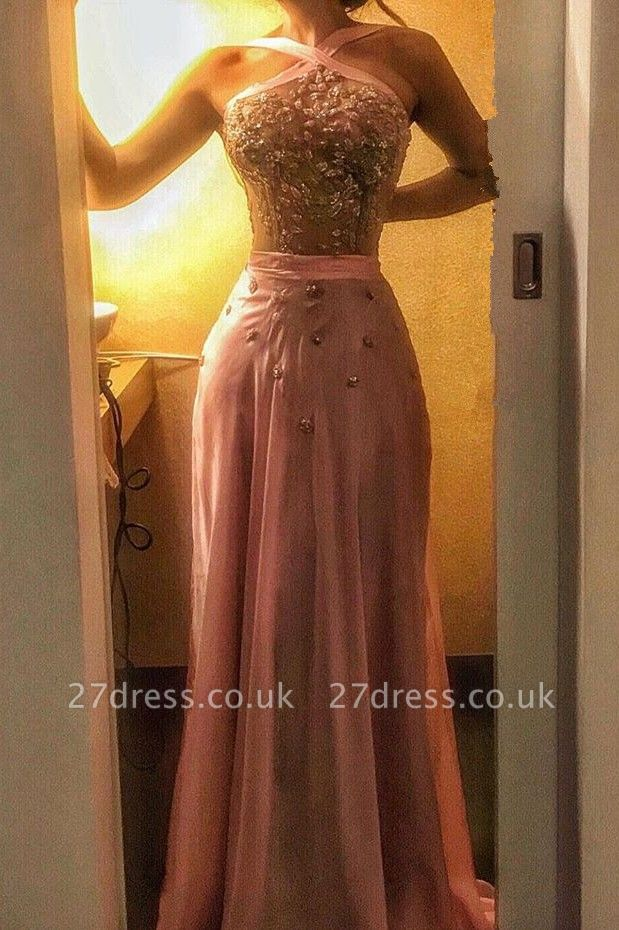 Halter Crystal Evening Dress UK   Mermaid Pink Prom Dress UK On Sale