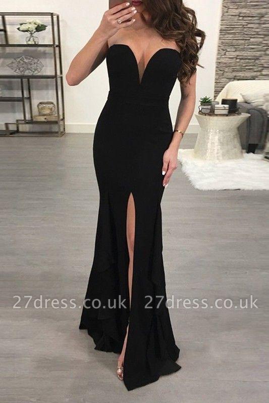 Elegant Black Sweetheart Evening Dress UK   2019 Mermaid Prom Dress UK With Slit