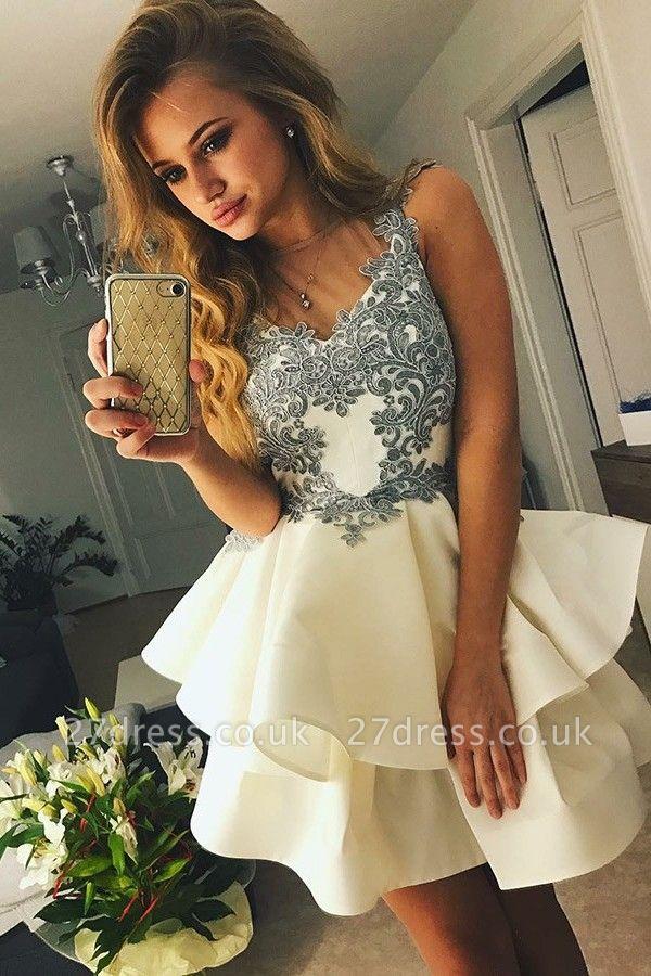 Lovely Sleeveless Short Prom Dress UK | Homecoming Dress UK With Appliques