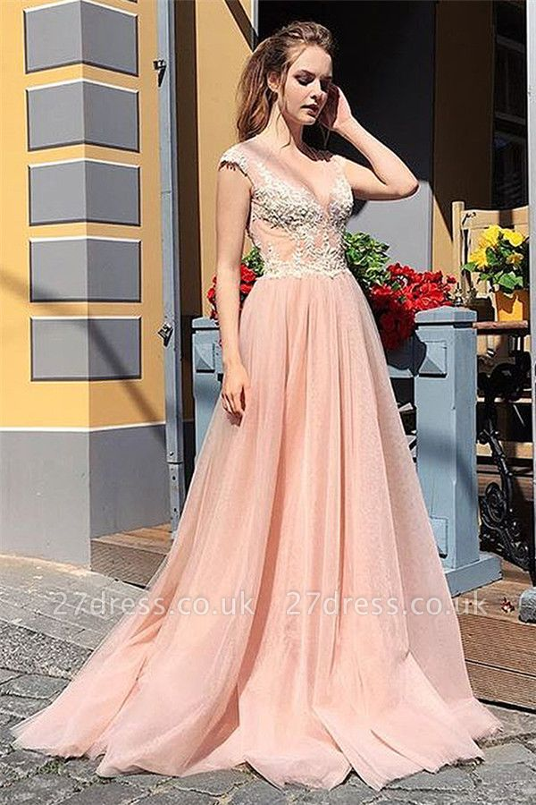 Chic Sleeveless Coral Prom Dresses UK   Appliques V-Neck Cheap Evening Dress