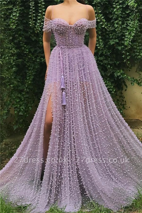 Sexy Tulle Pearls Off the Shoulder Prom Dress |  Sweetheart Sexy Slit Long Affordable Evening Dress UK
