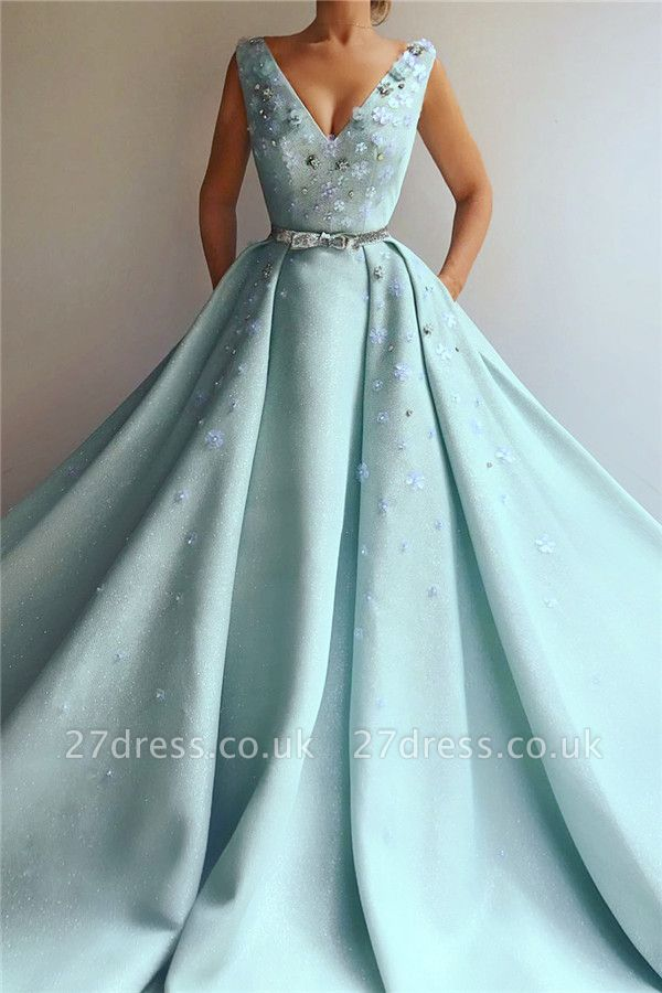 Sexy Sequins V-Neck Sleeveless Evening Dress | Flowers Pearls Long Prom Dress with Beaded Sash