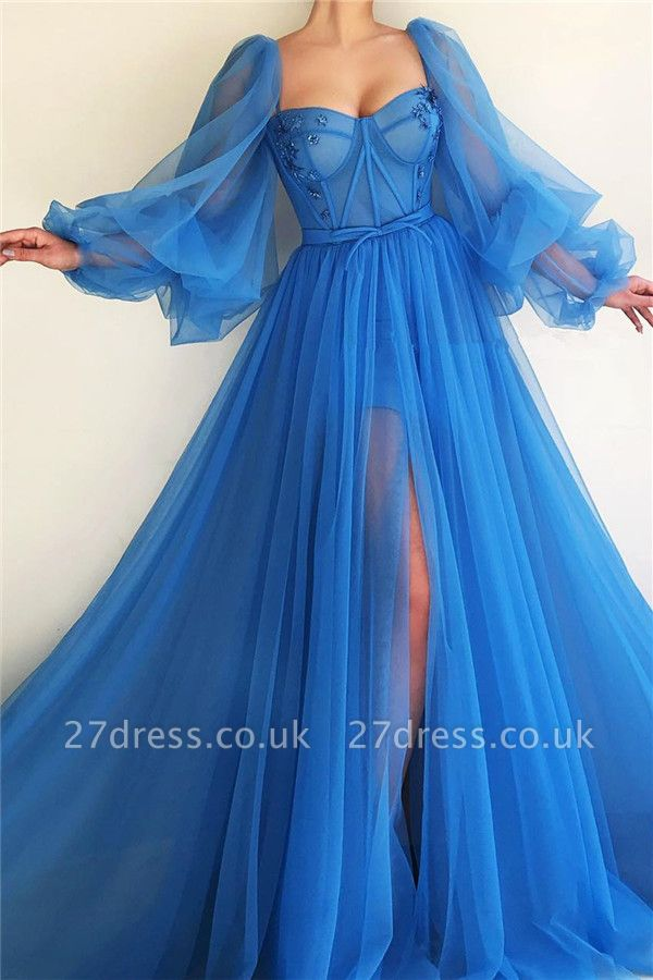 Long Sleeve Sweetheart Sheer Bodice Prom Dress |  Sexy Slit Blue Evening Dress UK Cheap