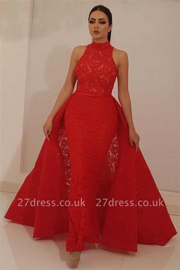 Cheap High Neck Sleeveless Red Lace Evening Dress UK | Mermaid Long Prom Dress with Detachable Skirt