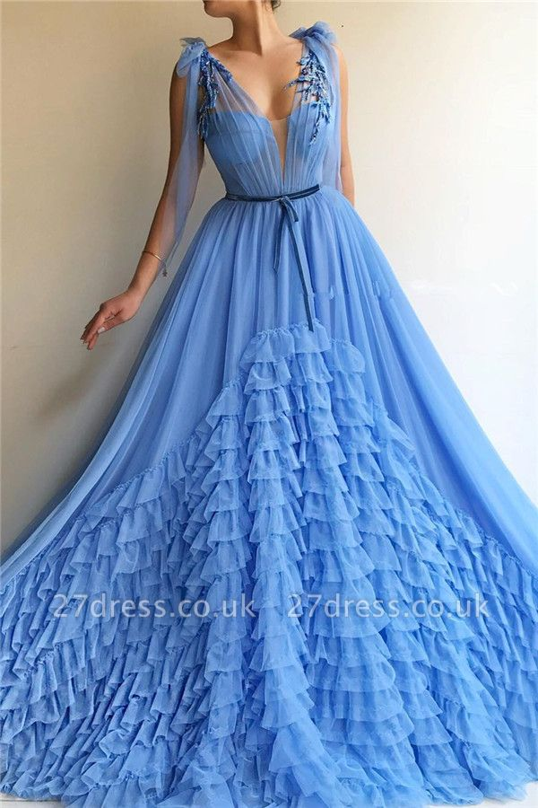 Tulle Deep V-Neck Blue Sexy Evening Dress UK | Cheap Sleeveless Layers Long Prom Dress with Sash