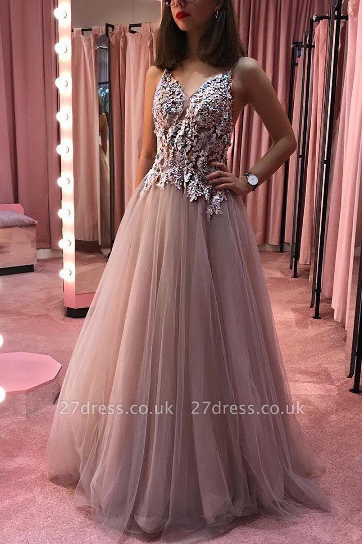 Appliques Beaded Sheer Bodice Evening Dress UK | Sexy Sleeveless Straps Long Prom Dresses